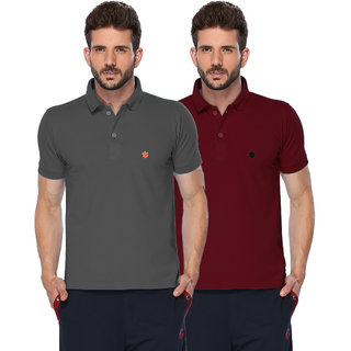 ONN Black Mellange  Maroon Polo Neck Half Sleeve Mens T-shirt