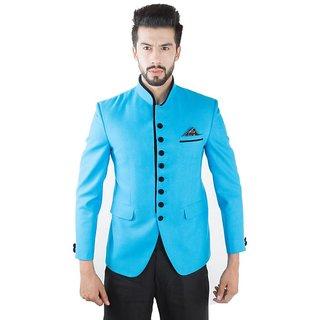 Jahanpanah Ban Collar Party wear Mens Coat - (Blue)