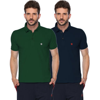 ONN Bottle Green  Navy Blue Polo Neck Half Sleeve Mens T-shirt