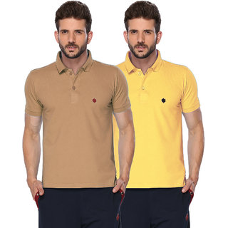 ONN Camel  Lemon Polo Neck Half Sleeve Mens T-shirt