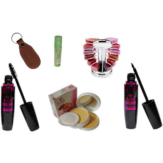 ADS1625 Waterproof EyeLiner / Mascara  / Kajal / Smooth Face Powder Compact /  Lipgloss / Eye care Kajal  With Ashra Keychain
