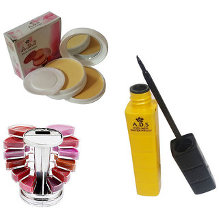 ADS1596 Waterproof EyeLiner / Smooth Face Powder Compact  With A set of 1 lip Lipgloss (12 colors )