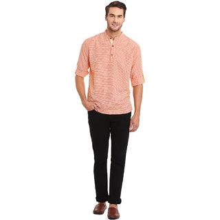 EVEN Orange Cotton Self Design Short Kurta with Mandarin Collar for Men