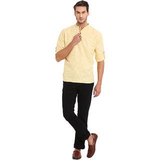 EVEN Yellow Cotton Checkered Short Kurta with Mandarin Collar for Men