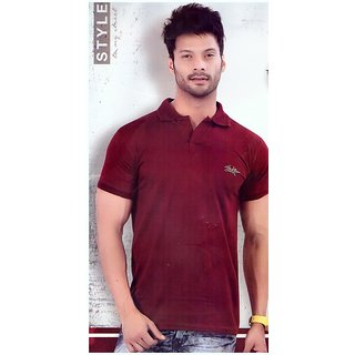MOSHIKO DESIGNER WEAR T-SHIRT 100 COTTON (MAROON)