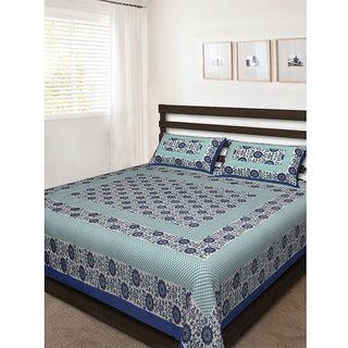 Santosh Royal Fashion Cotton Printed Double Bedsheet With 2 Pillow Cover