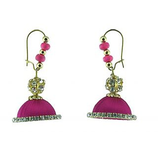 ayiruS Deep Pink Silk Thread Ear Rings (Lever Back)
