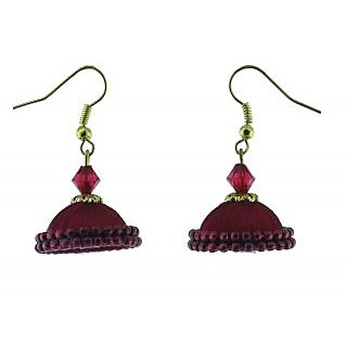 ayiruS Red Silk Thread Ear Rings (Fish Hook)
