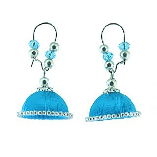 ayiruS Sky Blue Silk Thread Ear Rings (Lever Back)