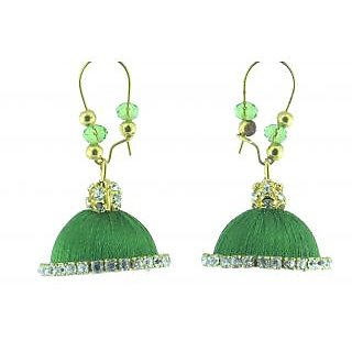 ayiruS Green Silk Thread Ear Rings (Lever Back)