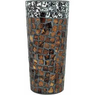K.S Brown Black Tinted Glass Cylinderical Flower Vase
