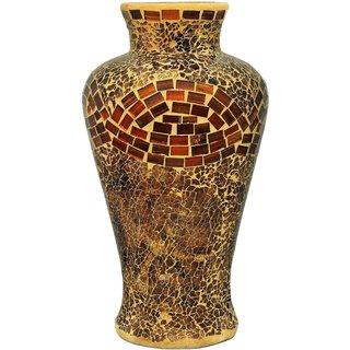 K.S Unique Golden Flower Vase in Tinted Glass