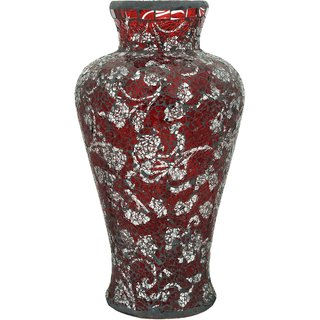 K.S Floral Red Flower Vase in Tinted Glass