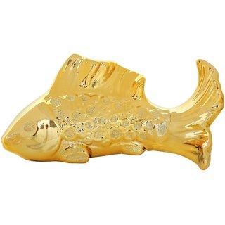 K.S Fish shaped Golden Showpiece in Ceramic