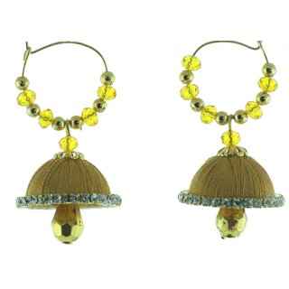 ayiruS Wine Silk Thread Ear Rings (Hoop)