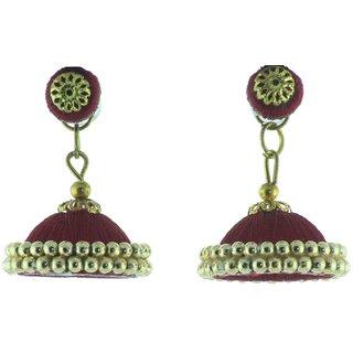 ayiruS Magenta Silk Thread Ear Rings (Studds)