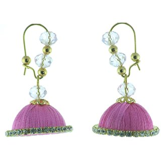 ayiruS Light Pink Silk Thread Ear Rings (Lever Back)