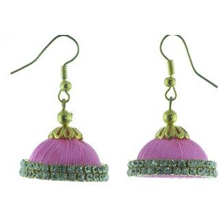 ayiruS Light Pink Silk Thread Ear Rings (Fish Hook)