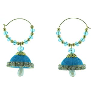 ayiruS Satin Blue Silk Thread Ear Rings (Hoop)
