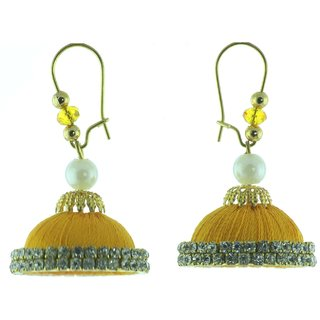 ayiruS Yellow Silk Thread Ear Rings (Lever Back)