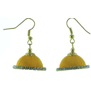 ayiruS Golden Yellow Silk Thread Ear Rings (Fish Hook)
