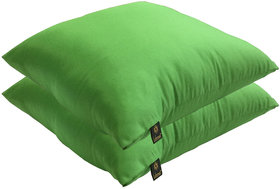 Lushomes Bright and Fluffy Green Cushions (Size 12x12, 2 pcs.)