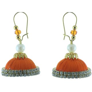 ayiruS Deep Orange Silk Thread Ear Rings (Lever Back)