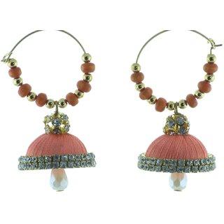 ayiruS Cream Orange Silk Thread Ear Rings (Hoop)