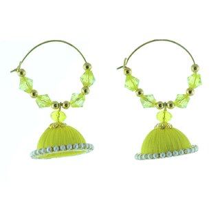 ayiruS Yellow Silk Thread Ear Rings (Hoop)