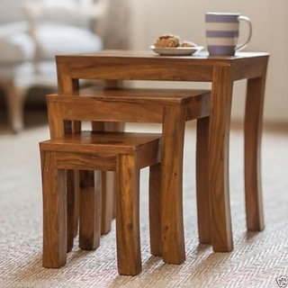 BM Wood furniture sheesham wooden stools set of 3 (natural Colour)