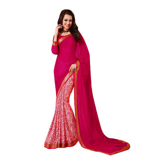 Subhash Daily Wear Red and Off White Color Georgette Saree/Sari