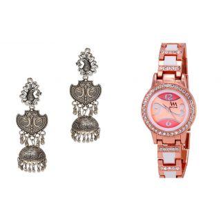 RAKHI GIFT SET FOR SISTER Watch Me Set of Watches  Metal Jhumki Earrings for Women WMAL-WMAL-053-A-ZKRPGJ1
