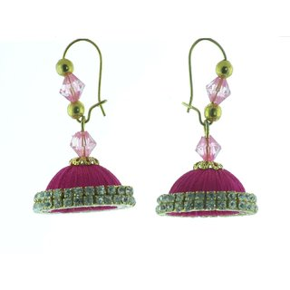 ayiruS Pink Silk Thread Ear Rings (Lever Back)