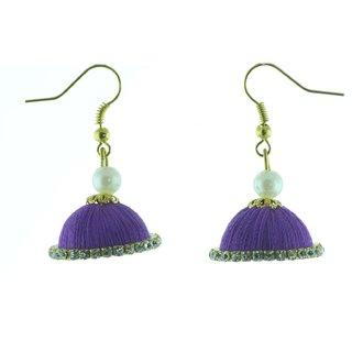 ayiruS Light Violet Thread Ear Rings (Fish Hook)