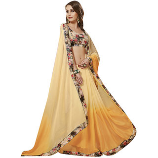 Subhash Daily Wear Cream and Orange Color Georgette and Chiffon Saree/Sari