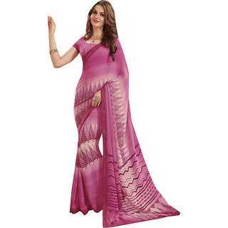 Subhash Daily Wear Pink Color Georgette and Chiffon Saree/Sari