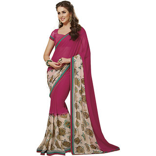 Subhash Daily Wear Magenta and Off White Color Chiffon Saree/Sari