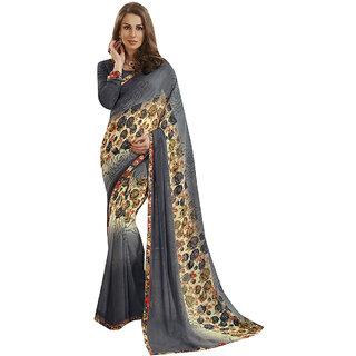 Subhash Daily Wear Grey Color Georgette and Chiffon Saree/Sari
