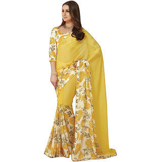 Subhash Daily Wear Yellow and Off White Color Georgette and Chiffon Saree/Sari