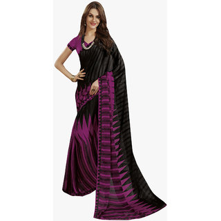 Subhash Daily Wear Magenta and Black Color Georgette and Chiffon Saree/Sari