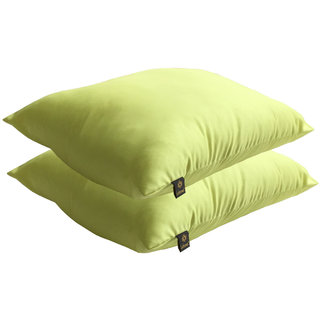 Lushomes Bright and Fluffy Lime Green Cushions (Size 12x12, 2 pcs.)