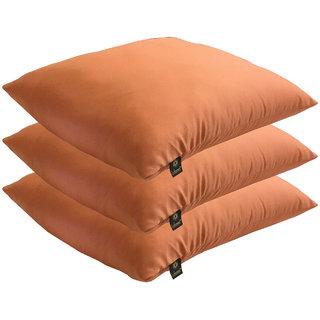 Lushomes Bright and Fluffy Orange Cushions (Size 12x12, 3 pcs.)