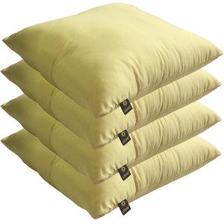 Lushomes Bright and Fluffy Lemon Yellow Cushions (Size 12x12, 4 pcs.)