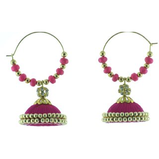 ayiruS Pink Silk Thread Ear Rings (Hoop)
