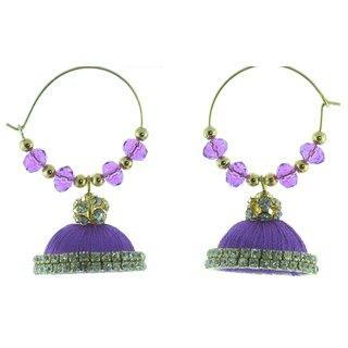 ayiruS Violet Silk Thread Ear Rings (Hoop)