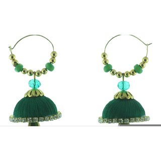 ayiruS Dark Green Silk Thread Ear Rings (Hoop)