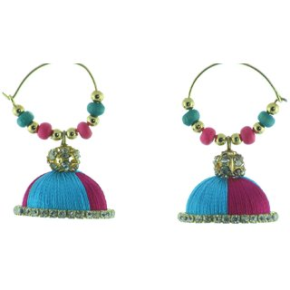 ayiruS Blue  Pink Thread Ear Rings (Hoop)