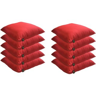 Lushomes Bright and Fluffy Red Cushions (Size 16x16, 10 pcs.)