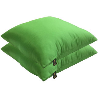 Lushomes Bright and Fluffy Green Cushions (Size 16x16, 2 pcs.)