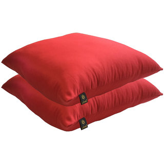 Lushomes Bright and Fluffy Red Cushions (Size 16x16, 2 pcs.)